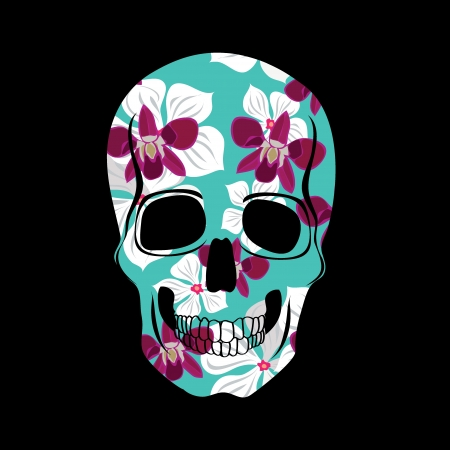 Skull with floral ornament illustration. Vector