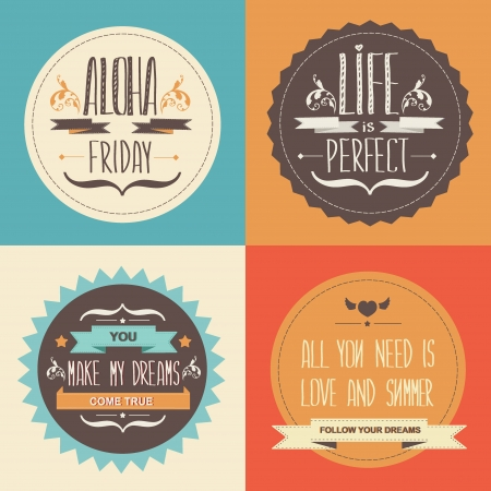 Set Summer poster Typography illustration  Vector