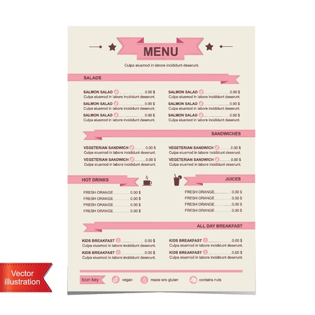 menu vintage: Cafe menu, template design illustration  Illustration
