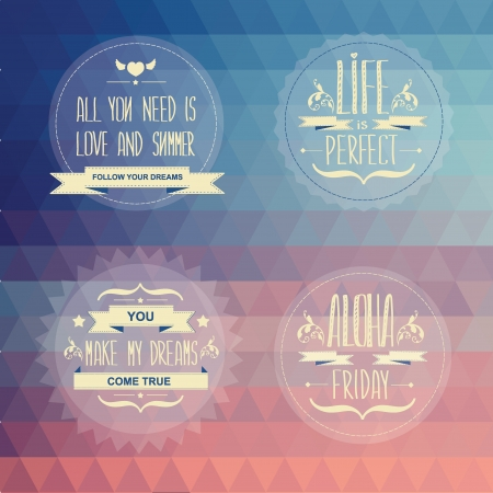 Set Summer poster Typography illustration  Vector
