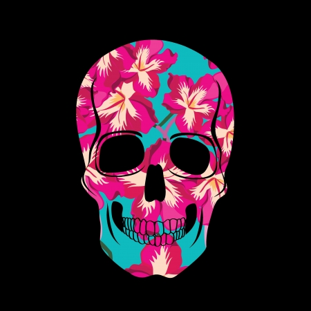 Skull with floral ornament illustration  Vector