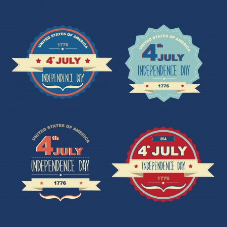 Set 4 July Independence Day Typography illustration Vector