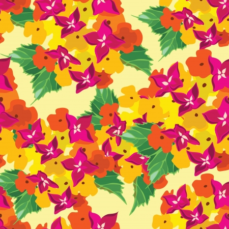 Floral seamless pattern with beautiful flowers, hand-drawing. Vector illustration. Vector