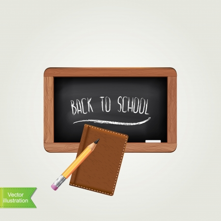 first class: Black chalkboard with pencil, isolated Vector illustration  Illustration