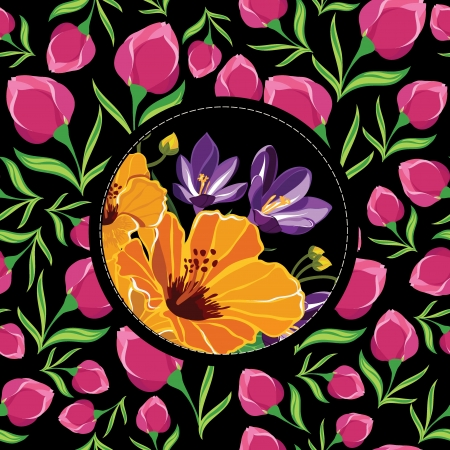 Floral pattern with beautiful flowers, hand-drawing  Vector illustration  Vector