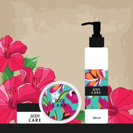 美しさのケアのためのカラフルなラベルを持つ化粧品ボトル  イラスト・ベクター素材
