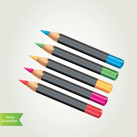 assignment: Colored pencils Vector illustration