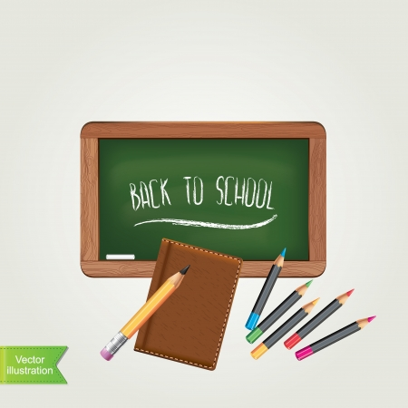 green chalkboard: Green chalkboard with pencil, isolated Vector illustration
