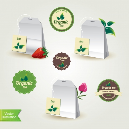 teabag: Teabags with labels,isolated Vector illustration