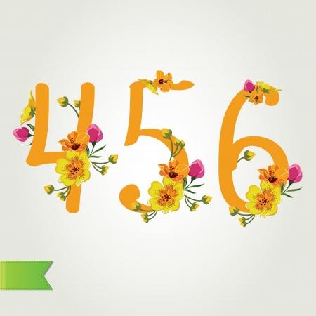 Floral numbers set, vector illustration  Vector