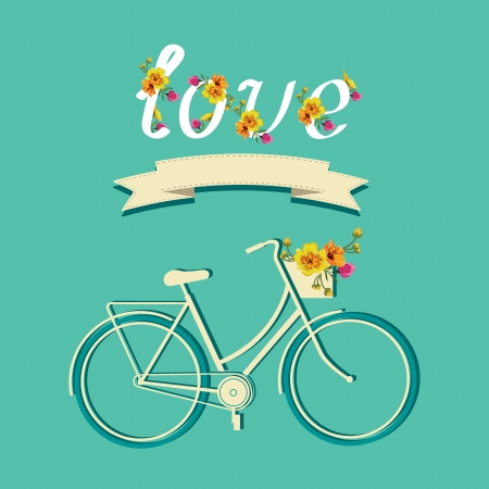 love life: Summer poster with bicycle Typography  Vector illustration