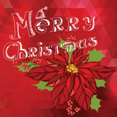 Poster Merry Christmas Typography illustration  Vector
