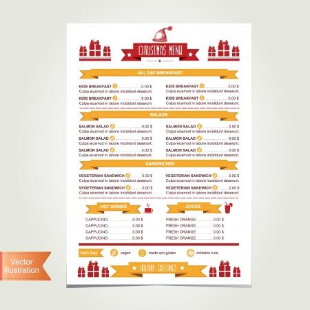 old bar: Cafe menu Christmas, template design illustration