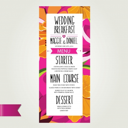 vintage cafe: Wedding menu, template design Vector illustration  Illustration