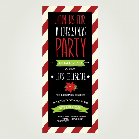 Invitation Merry Christmas Typography Vector illustration  Vector