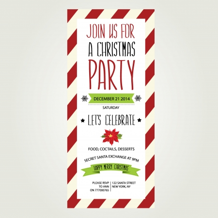Invitation Merry Christmas Typography Vector illustration