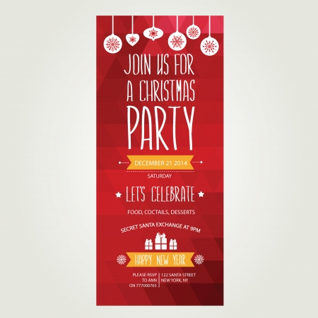 Invitation Merry Christmas.Typography.Vector illustration.