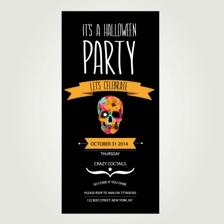 horror background: Invitation Halloween.Typography.Vector illustration. Illustration