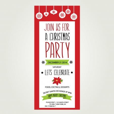 Invitation Merry Christmas Typography Vector illustration
