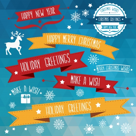Set of creative Christmas badges  Illustration