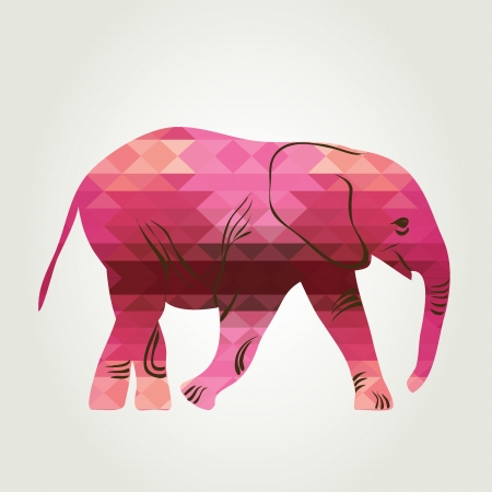 Cartoon elephant  The silhouette of the elephant collected from geometric  Vector