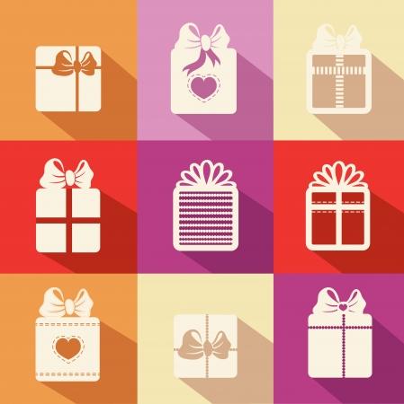 box set: Gift box icons Vector illustration