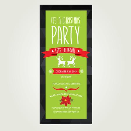 illustration invitation: Invitation Merry Christmas Typography Vector illustration