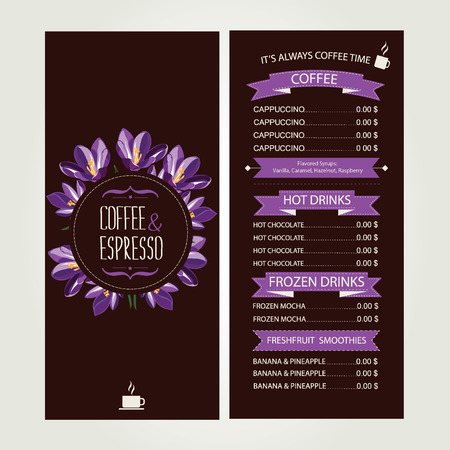 Cafe menu, template design  Vector illustration  Illustration
