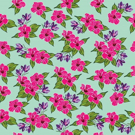 hawaii flower: Floral seamless pattern with beautiful flowers, hand-drawing  Vector illustration