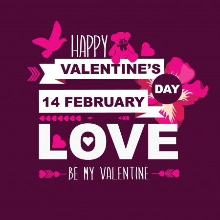 Valentine s Day poster Typography Vector illustration  Vector