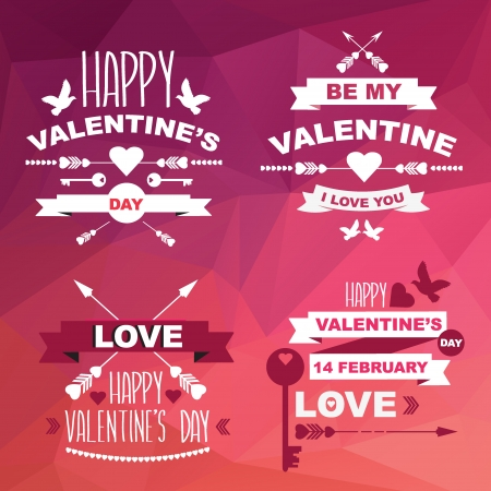 Valentine's Day set of symbols.Typography. Vector