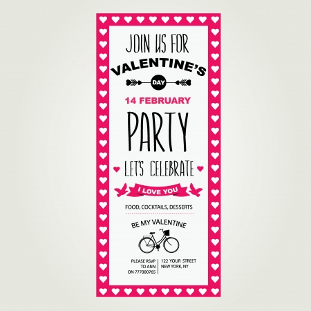 Invitation Valentine's Day.Typography.Vector illustration. Vector