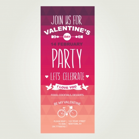 Invitation Valentines Day.Typography.Vector illustration. Vector