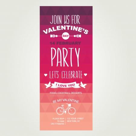 Invitation Valentines Day.Typography.Vector illustration. Vector