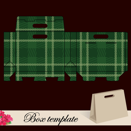 Gift box template.Print. Cut along solid outer border with scissors. Fold back on dashed lines to form your favor box. Use adhesive to secure side and bottom flap. Vector