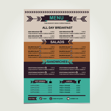 Restaurant menu, template design.Vector illustration. Vector