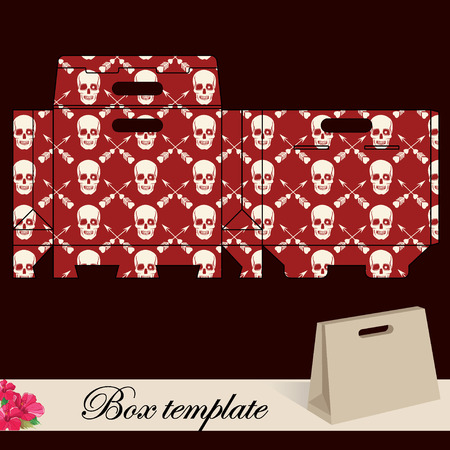 Gift box template Print  Cut along solid outer border with scissors  Fold back on dashed lines to form your favor box  Use adhesive to secure side and bottom flap  Vector