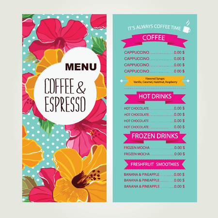 Cafe menu, template design  Vector illustration  Vector
