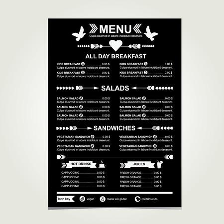 Cafe menu, template design Vector illustration