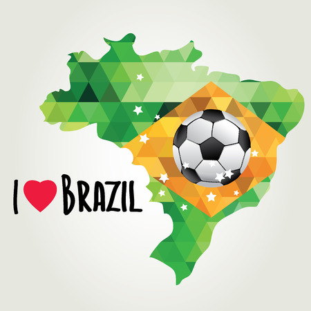 brasilia: Poster soccer world game  Design concept brazil  Vector illustration