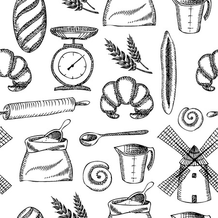 rolling: Seamless bakery pattern  Retro design  Vector illustration   Illustration