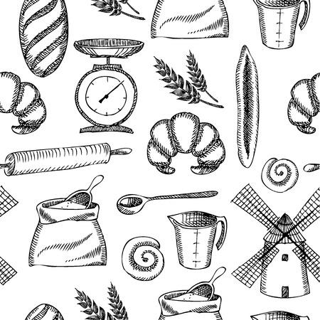 rolling pin: Seamless bakery pattern  Retro design  Vector illustration   Illustration