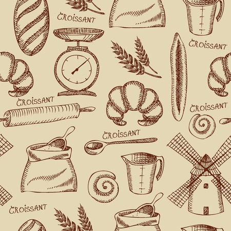 croissant: Seamless bakery pattern  Retro design  Vector illustration   Illustration