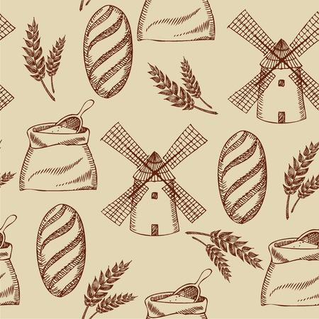 baguette: Seamless bakery pattern  Retro design  Vector illustration   Illustration