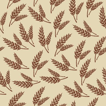 wheat flour: Seamless pattern wheats  Bakery design  Vector illustration  Illustration