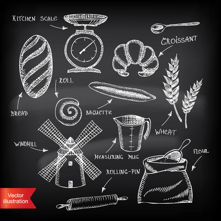 bakery products: Set of vintage bakery icons  Retro design  Vector illustration