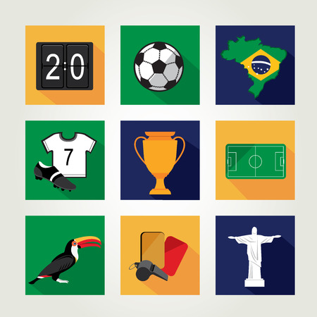 Soccer icon set   Brazil summer world game  Flat design  Vector illustration  Vector