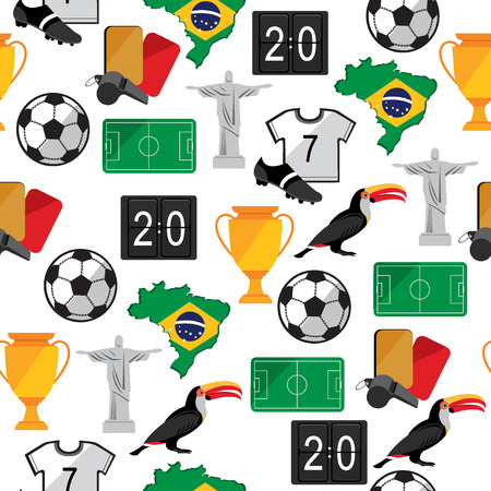 Soccer seamless pattern  Brazil summer world game Vector illustration  Vector