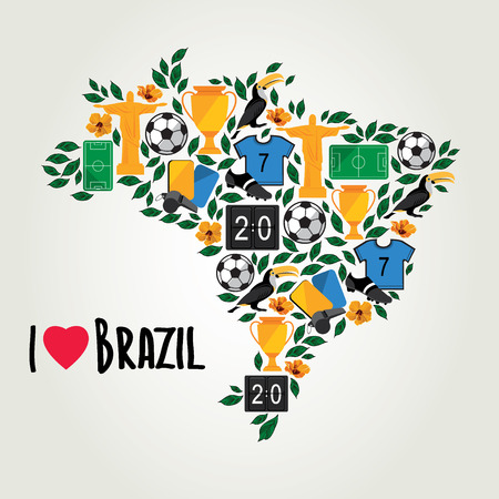 Brazil, soccer summer world game  Flat design  Vector illustration  Vector