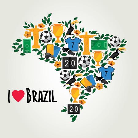 Brazil, soccer summer world game  Flat design  Vector illustration  Vector